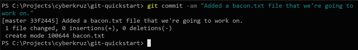 Git status showing commit details