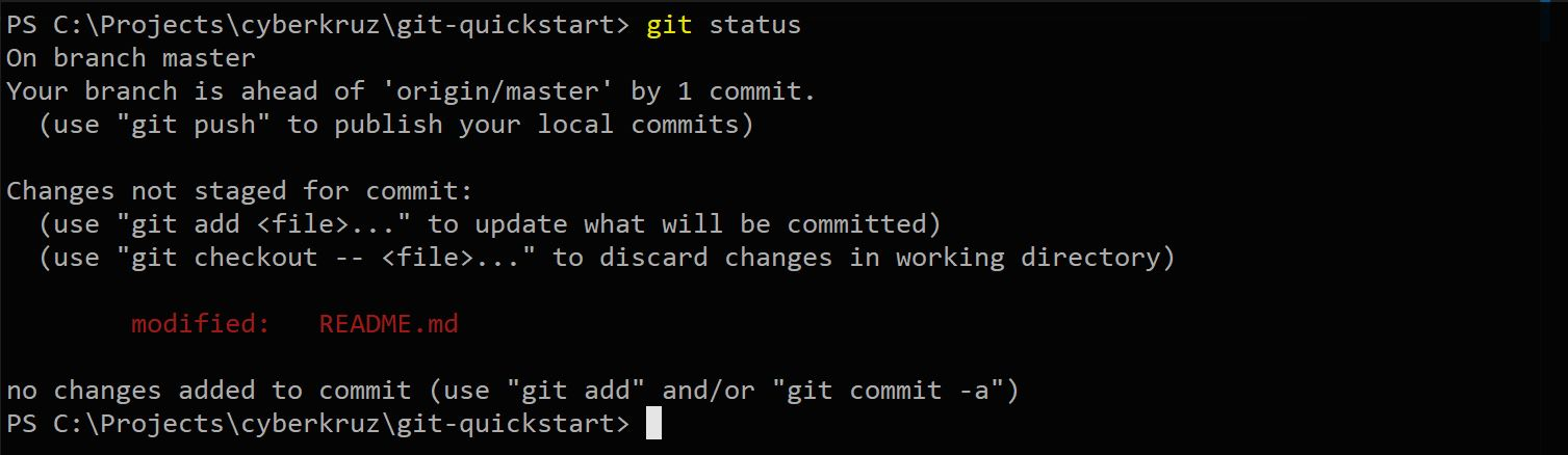 Git status showing README changes