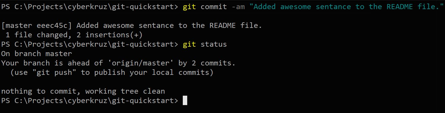 Git status showing final commit