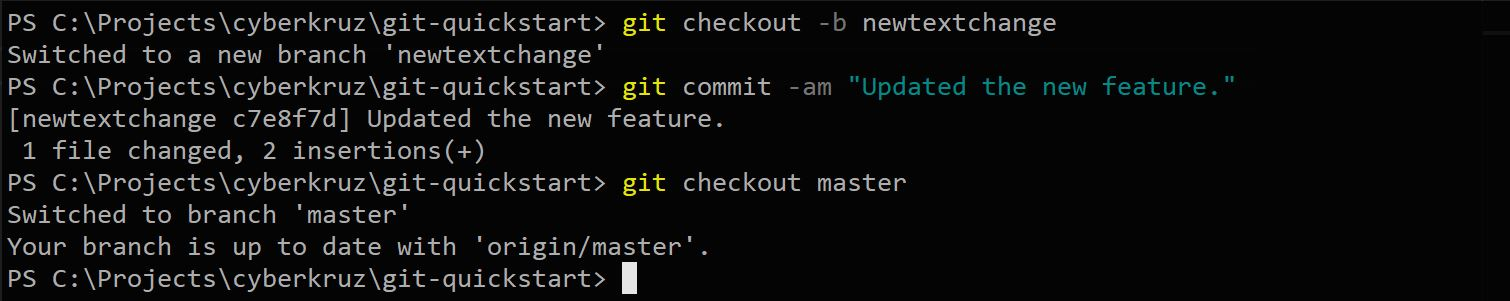 Git status showing branch create